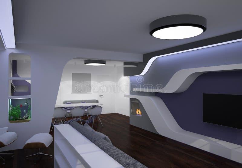 3D visualisatie van een woonkamer binnenlands ontwerp royalty-vrije stock foto