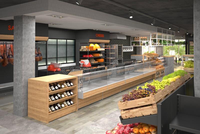 3D visualisatie van het binnenland van de kruidenierswinkelopslag Ontwerp in zolderstijl royalty-vrije illustratie