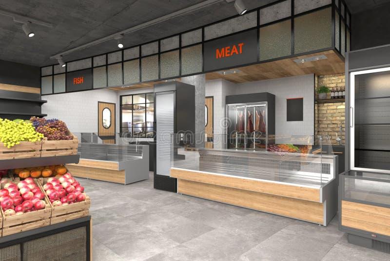 3D visualisatie van het binnenland van de kruidenierswinkelopslag Ontwerp in zolderstijl vector illustratie