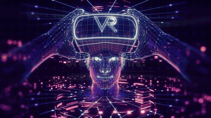 3D visualisation des verres de port d'une réalité virtuelle d'homme, dispositif principal électronique, avatar virtuel, interface illustration de vecteur
