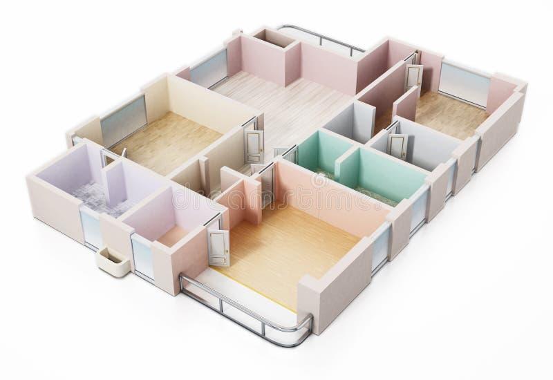 3D visualisation of a luxurious flat. 3D illustration royalty free illustration
