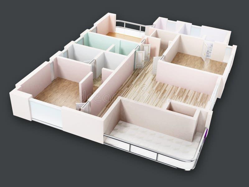 3D visualisation of a luxurious flat. 3D illustration stock illustration