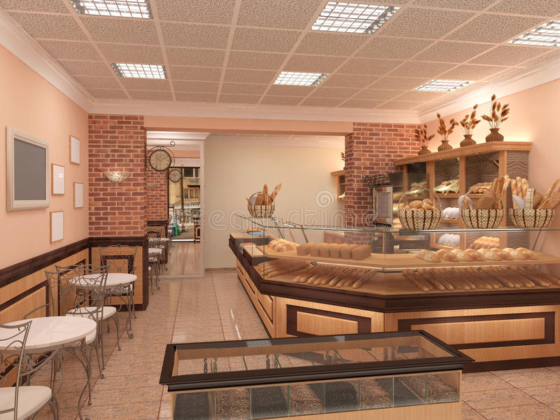 3d visualization of a bakery interior design stock for Interior decorating visualizer