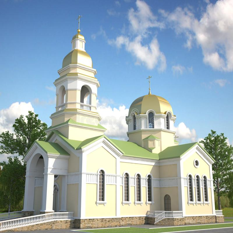 3D visualization of the Church stock photo