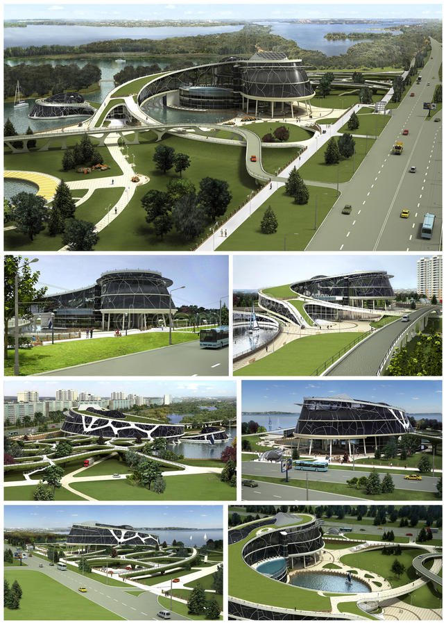3D visualization of the eco building with bionic form and energy-efficient technologies. vector illustration