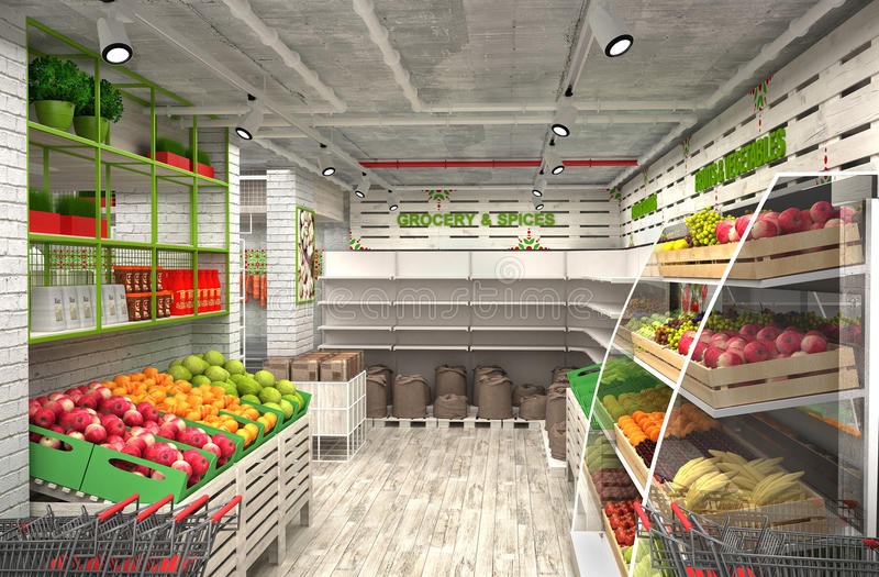 3d visualization of food store. The interior in the loft style royalty free illustration