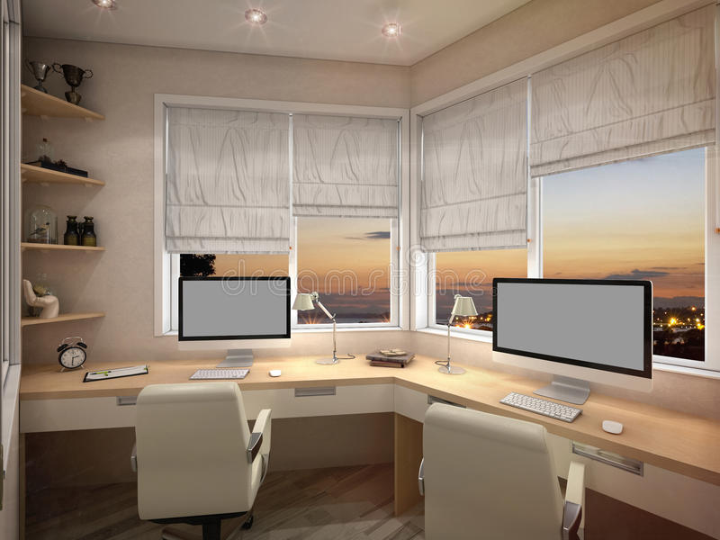3d visualization Home Office. With computers vector illustration