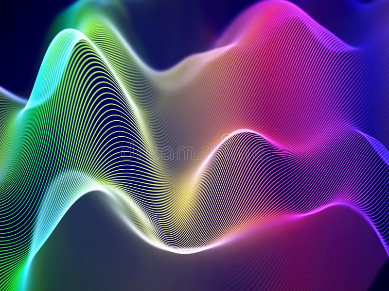 3D visualization of sound waves. Big data or information concept: Multicolor chart. Data abstract: futuristic digital landscape. Visual sound waves or audio vector illustration