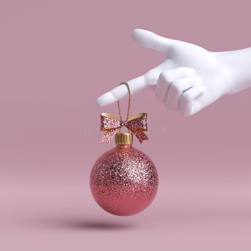 3d Vit mannequin hand med rosa julgranskula, prydlig med bog, isolerad på rosa bakgrund arkivbild
