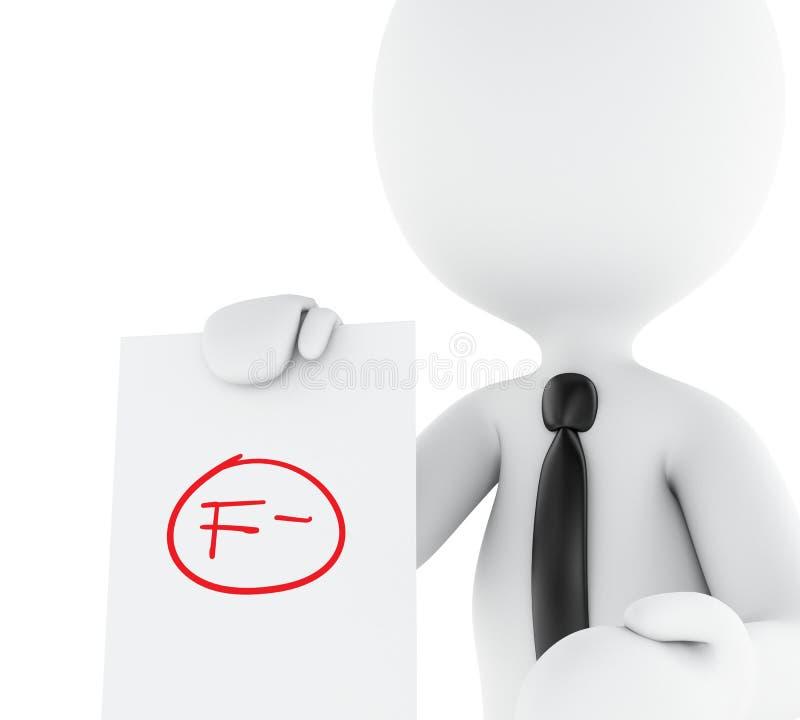 3d vitt folk, lärare med f-kvalitetsprovet vektor illustrationer