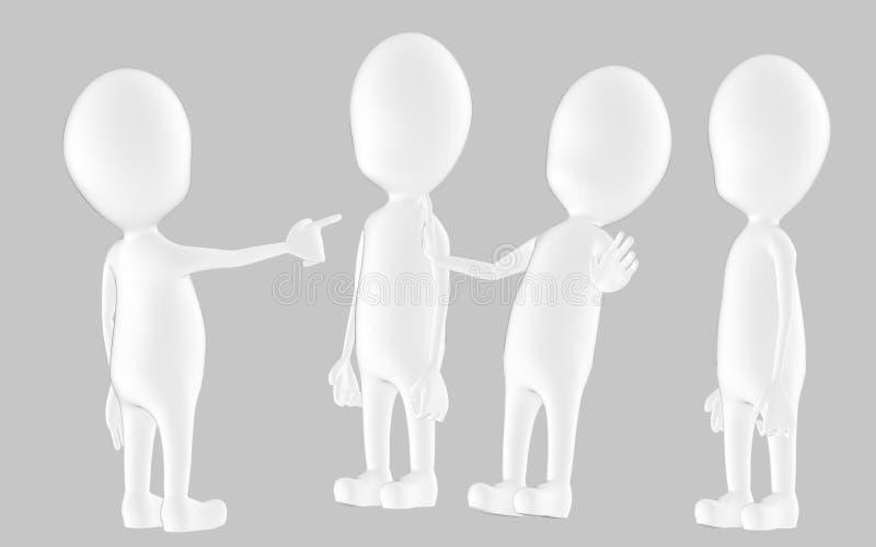 3d vitt tecken, chacater som ut ut poiting en dem två stock illustrationer
