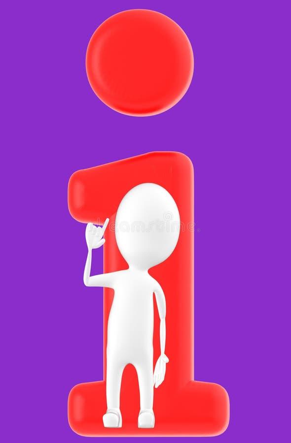 3d vitt tecken, informationsbegrepp stock illustrationer