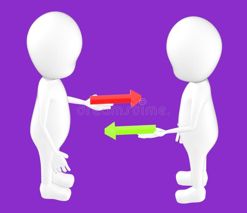 3d vitt tecken, tecken som rymmer den röda och gröna pilen på deras händer, båda av dem som står mitt emot vektor illustrationer
