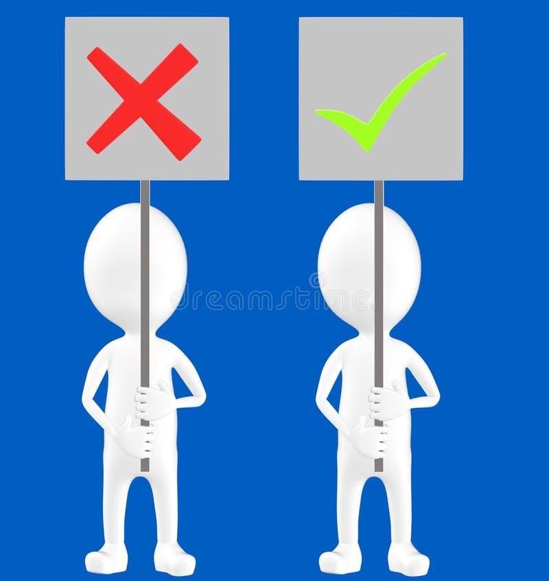 3d vitt tecken, två tecken, ett av dem som rymmer ett fel teckenbräde och andra som rymmer en fästingteckenfläck stock illustrationer