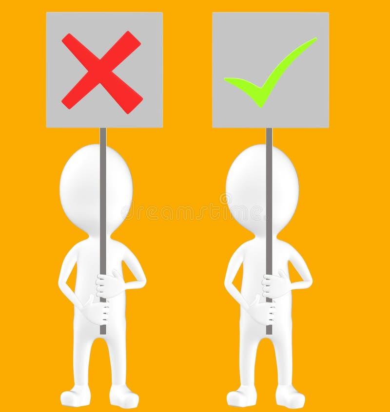 3d vitt tecken, två tecken, ett av dem som rymmer ett fel teckenbräde och andra som rymmer en fästingteckenfläck vektor illustrationer
