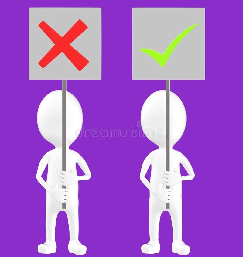 3d vitt tecken, två tecken, ett av dem som rymmer ett fel teckenbräde och andra som rymmer en fästingteckenfläck royaltyfri illustrationer