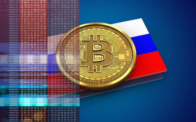 3d vlag van bitcoinrusland royalty-vrije illustratie