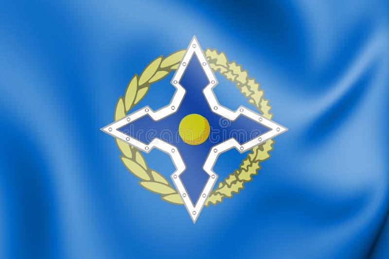 3D Vlag van de Collectieve Organisatie van het Veiligheidsverdrag vector illustratie