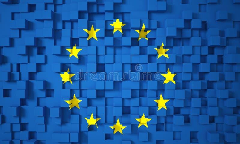 3d vlag van Europa royalty-vrije illustratie