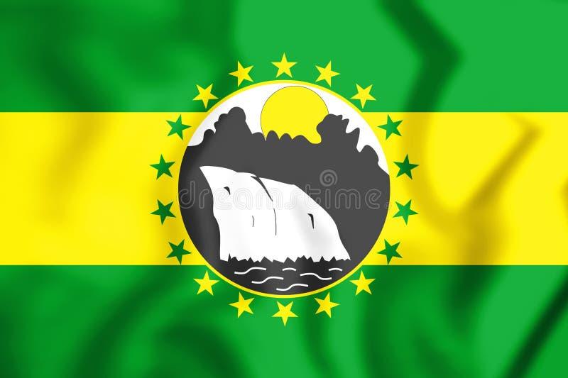 3D Vlag van het District van La Chorrera stock illustratie