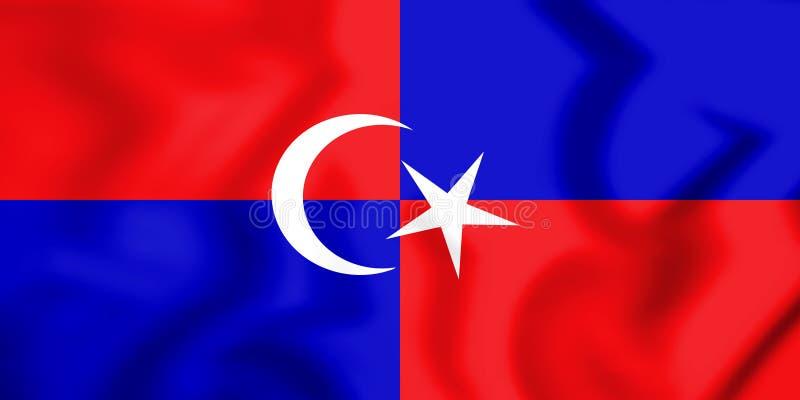 3D Vlag van Kulai-District Johor, Maleisië stock illustratie
