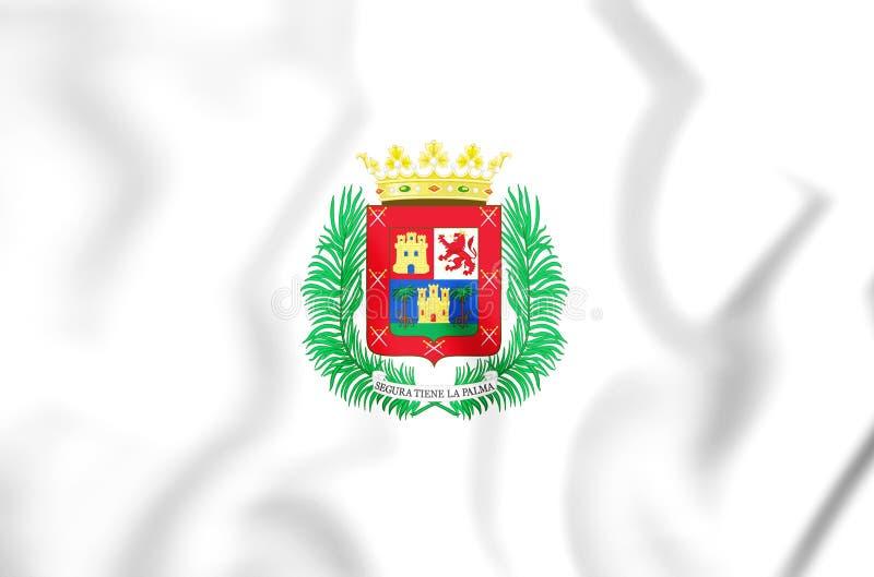 3D Vlag van Las Palmas de Gran Canaria, Spanje royalty-vrije illustratie
