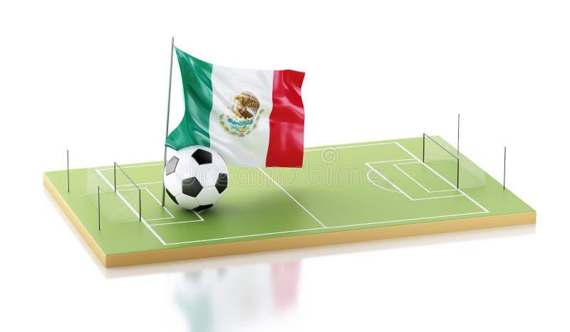 3d vlag van Mexico en voetbalbal stock illustratie