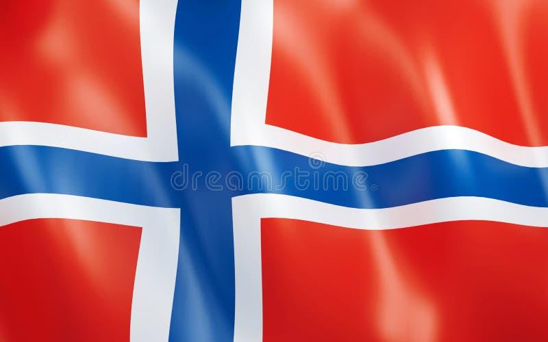 3D Vlag van Noorwegen stock illustratie