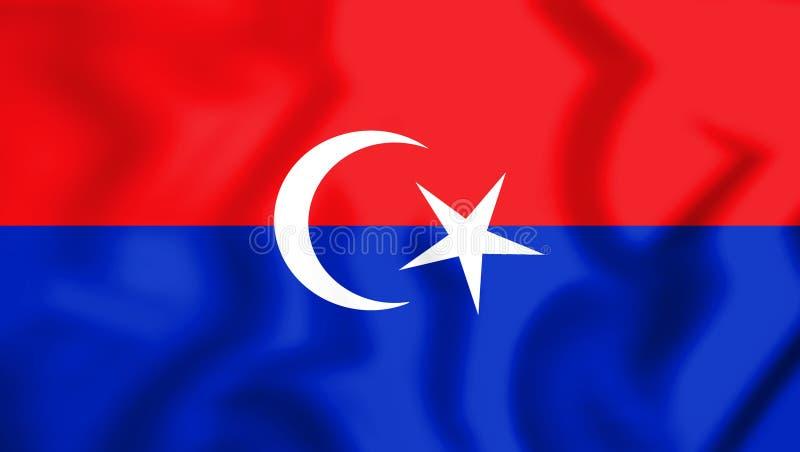 3D Vlag van Pontian District Johor, Maleisië royalty-vrije illustratie
