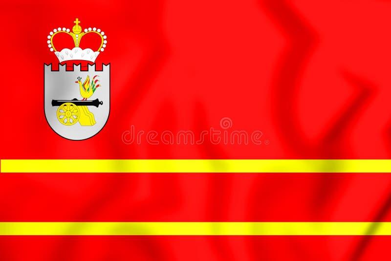 3D Vlag van Smolensk Oblast, Rusland stock illustratie