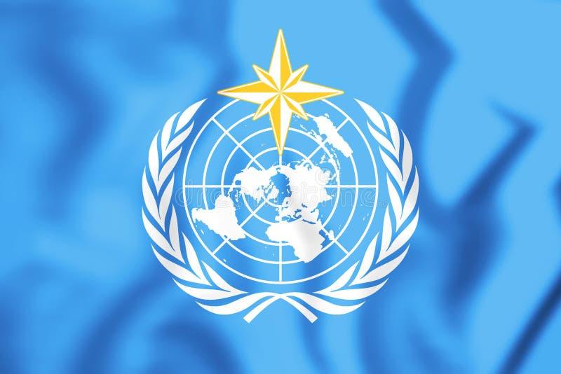 3D Vlag van Wereld Meteorologische Organisatie royalty-vrije illustratie