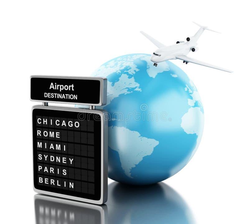 3d Vliegtuig die rond bol en raadsluchthaven vliegen stock illustratie