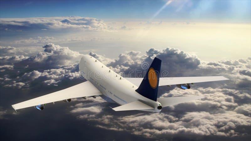 3d vliegtuig die van de illustratiepassagier in de hemel boven de wolken vliegen vector illustratie