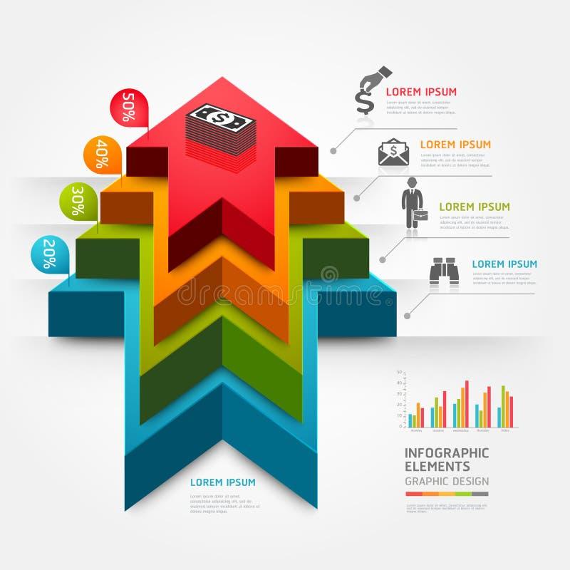 3d voer het diagramzaken op van de pijltrap. royalty-vrije illustratie