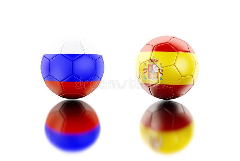 3d Voetbalballen met de vlaggen van Spanje en van Rusland royalty-vrije illustratie