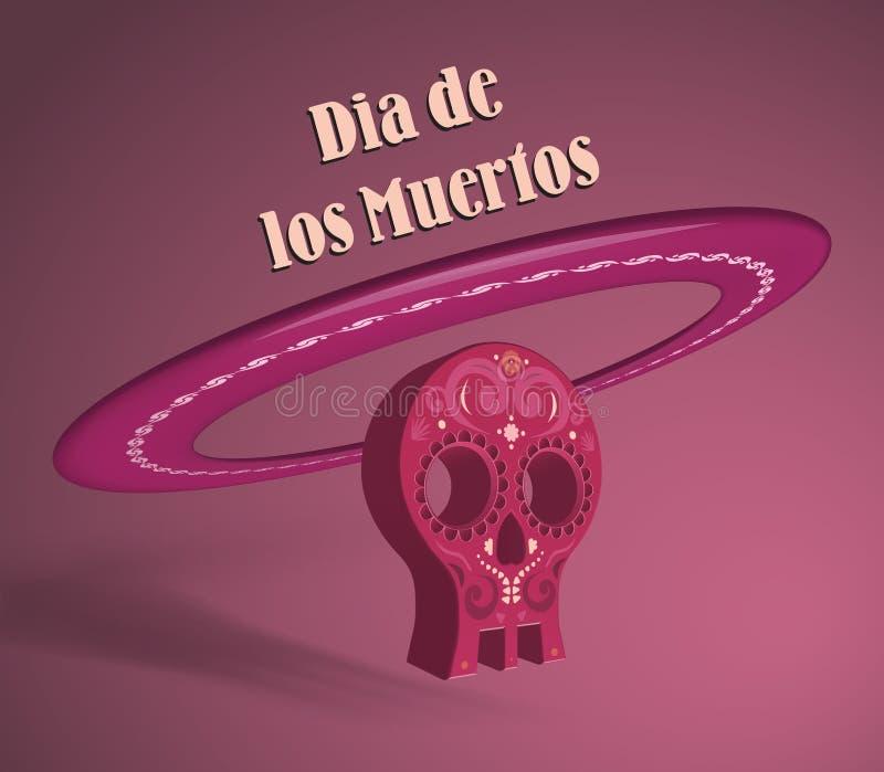 3d voorwerp die schedel en sombrerohoed symboliseren vector illustratie