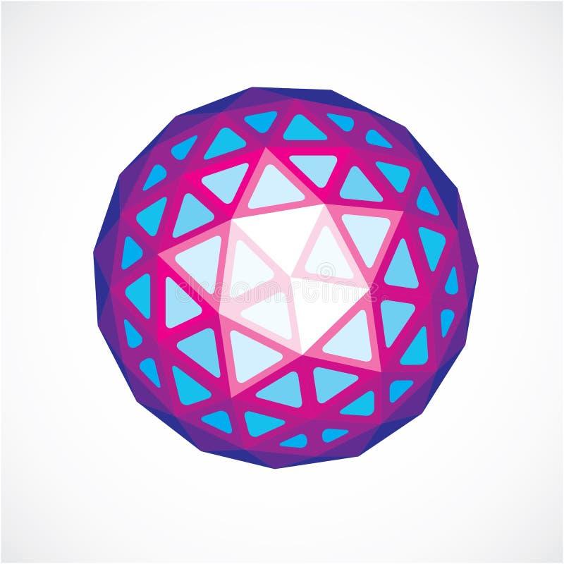 3d vorm, futuristische origami abstracte modellering Purpere vector laag vector illustratie