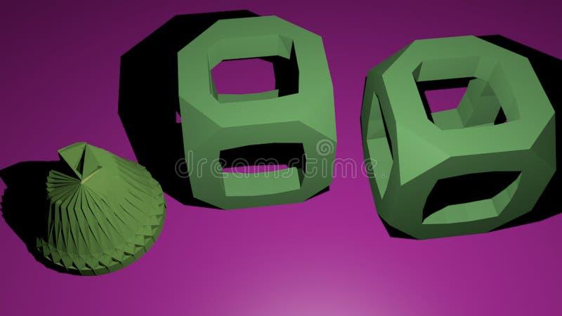 3D vormen op de purpere achtergrond royalty-vrije illustratie