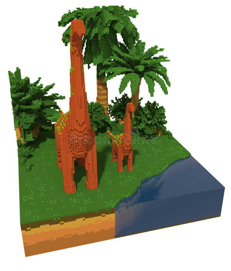 3d voxel dinosaurs royalty free illustration