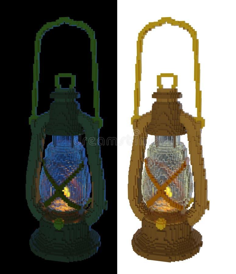 3d voxel retro oil lamp stock illustration