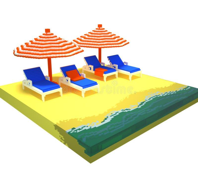 3d voxel summer beach scene stock illustration