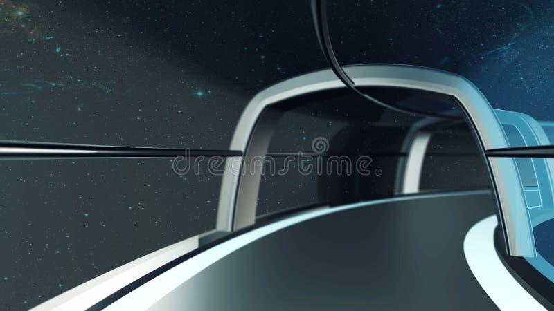 3D voyage généré par ordinateur dans le tunnel du vaisseau spatial, illustration 3D illustration libre de droits