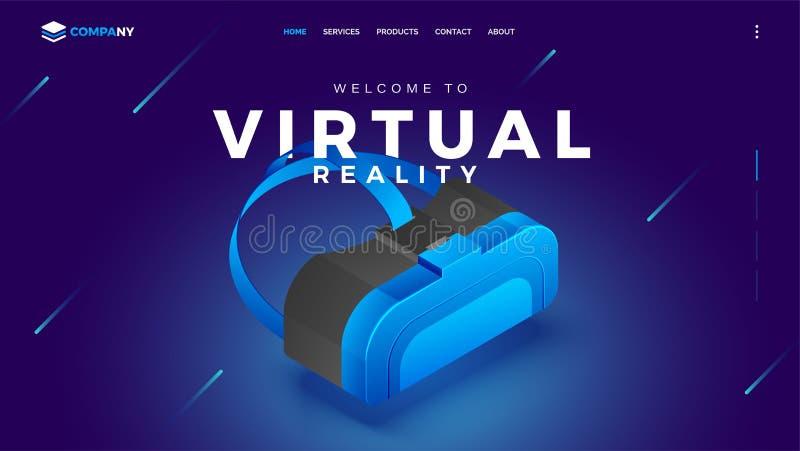 3D VR箱子例证,虚拟现实的英雄横幅图  库存例证
