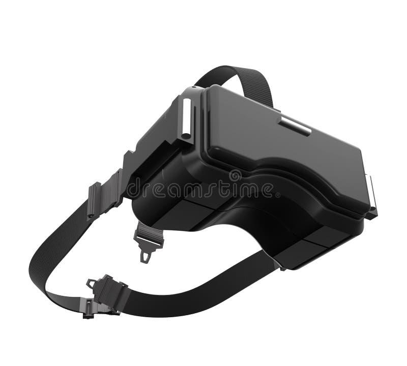 3d黑VR耳机的翻译图象在白色背景的与 库存例证