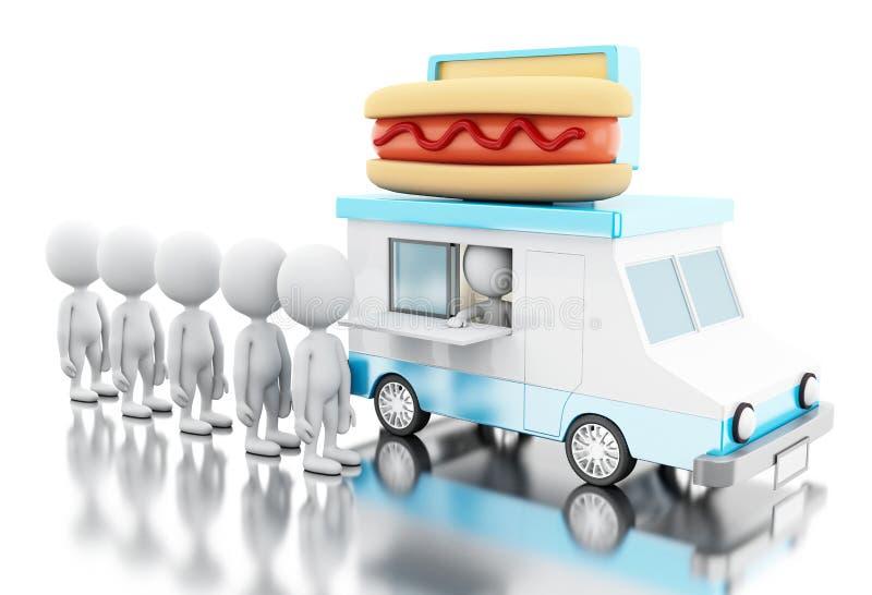 3d vrachtwagen van het Hotdogvoedsel met witte mensen die in lijn wachten royalty-vrije illustratie