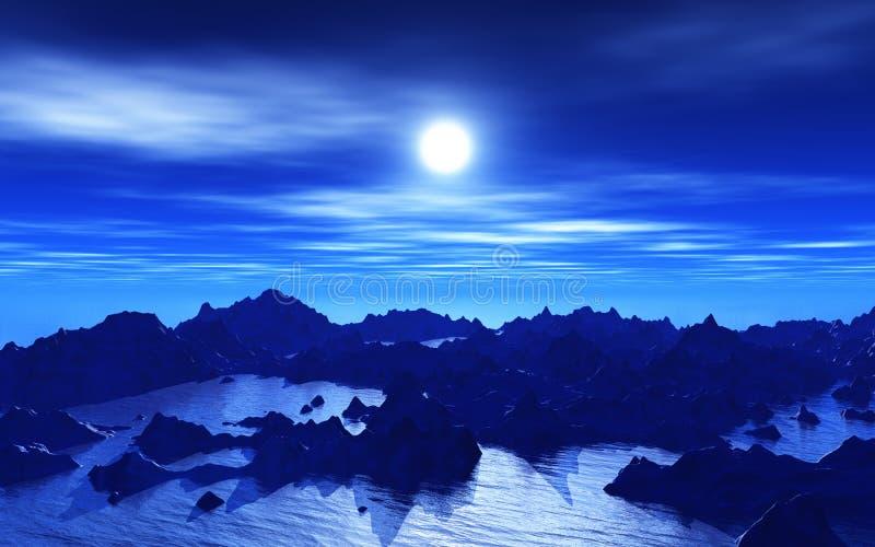 3D Vreemd landschap bij nacht royalty-vrije illustratie
