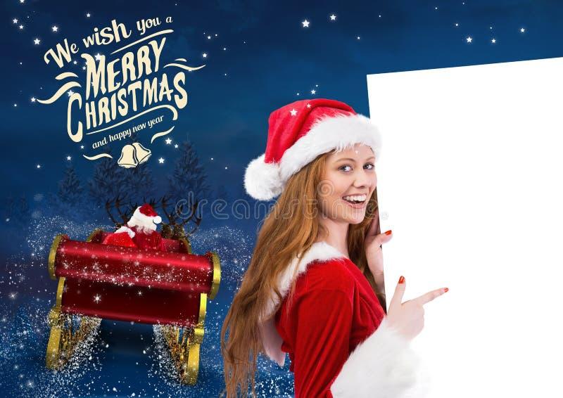 3D Vrouw die in santakostuum op aanplakbiljet met berijdende het rendierar van de Kerstman richten naar sk royalty-vrije stock afbeeldingen