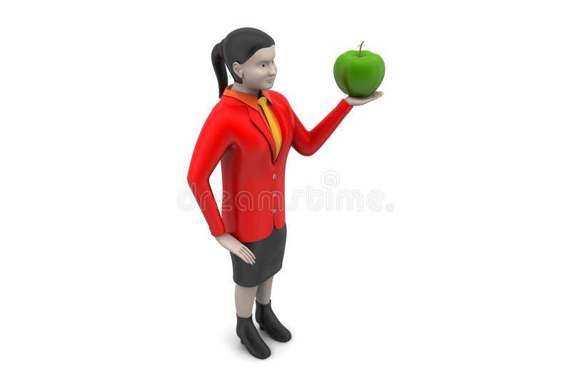 3d vrouw met appel stock illustratie