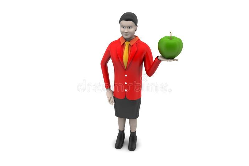 3d vrouw met appel vector illustratie