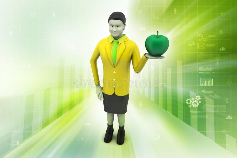 3d vrouw met appel royalty-vrije illustratie